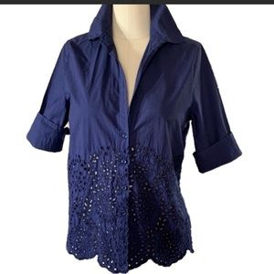 Johnny Was navy blue floral embroidered shirt